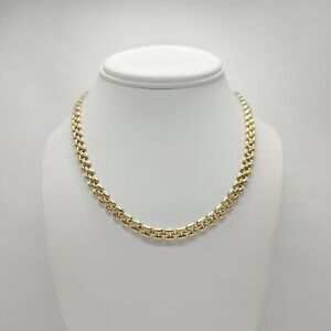 """14K Yellow and White Gold - Reversible Hollow Link Necklace - 15"""" - 19.8 Grams"""