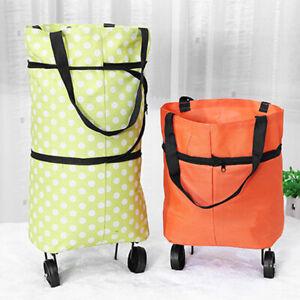 Portable Folding Shopping Trolley Bag Oxford fabric Luggage Wheels Grocery Cart