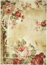 Rice Paper -Roses Wallpaper- for Decoupage Decopatch Scrapbook Craft Sheet