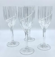 """4 Mikasa Crystal UPTOWN Water Tall Wine Glass Goblets 9"""" Iced Tea Water Wine"""
