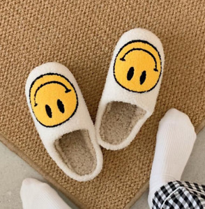 Women Smiley Face Slippers Smile Home Happy Face Indoor Slippers Fluffy Fur