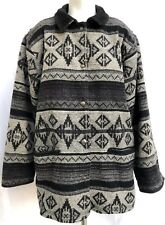 Woolrich Wool Jacket Southwest Indian Blanket Coat Navajo Gray Black Sz Medium