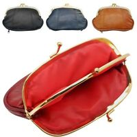 Ladies Real Genuine Soft Leather Triple Frame Fastening Coin Purse