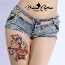REALISTIC TEMPORARY TATTOO - COOL UNICORN - WOMANS, GIRLS, KIDS, FAKE, LARGE