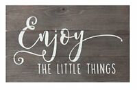 Enjoy the Little Things Brown Distressed 17 x 10.5 Wood Pallet Wall Plaque Sign