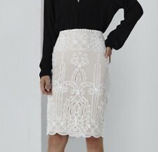 Elegant Lace Embroidered White & Nude Pencil Skirt NEW Size S