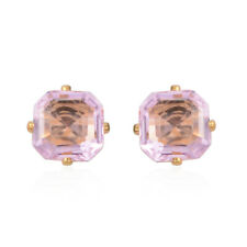 Simulated Gemstone In Goldtone Stud Earrings Pink CZ Asscher 6 mm Faceted