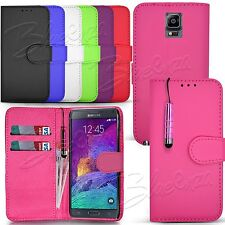 For Samsung Galaxy Phone Models - Wallet Leather Case Cover Book + Touch Stylus