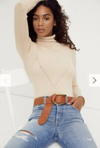 New Free People Uma Buckle Belt OS Topaz Brown Pebbled Leather $48