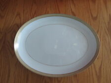 "MIKASA Fine China 16"" Platter 8303 Bristol Pattern White w/Gold Color Edge Japan"