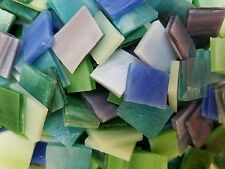 """213 Assorted Blue Green Purple Stained Glass 1/2"""" - 3/4"""" Mosaic Tiles"""