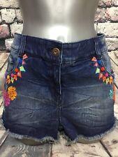 NEW 12 NEXT blue denim frayed shorts embroidery pom pom hippy festival beach