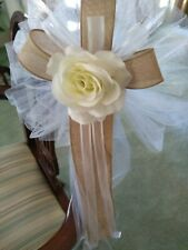 10 PC  burlap wedding pew bows ivory  with ivory rose with burlap or any color