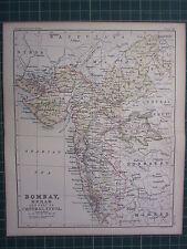 1887 ANTIQUE MAP ~ BOMBAY BERAR CENTRAL INDIA GUJARAT