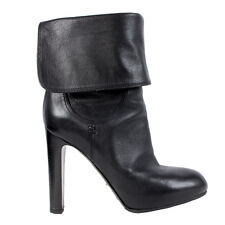 40665 auth SERGIO ROSSI black leather Mid-Calf Boots Shoes 35.5