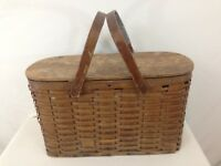 Antique Wicker Basket 2 Handle Metal Tin Lined Refrigerated Picnic Basket