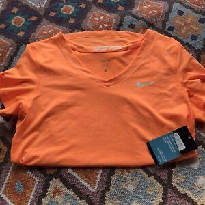 NWT Nike Pro Large Women's Sportswear Orange Dri-Fit Short Sleeve