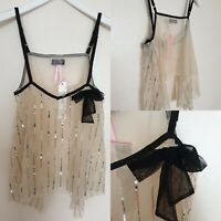 New Lipsy Women Top Sequins Cream Black Strap Sheer Party Holiday UK10 Blogger