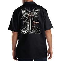 Dickies Black Mechanic Work Shirt Gravestone Reaper Skull Wings & Sword