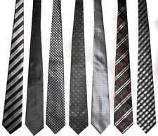 Lot of 7 Men's Handmade 100% Silk Tie Black Gray Tones Color Palette Stripe Dots