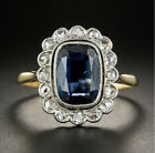 2.13 Ct Sapphire Geometric Late Art Deco Vintage Ring 14K Yellow Gold Over