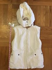 Ann Taylor Loft Ivory Hooded Vest w/ Snap-off Faux Fur fleece, Womens xs