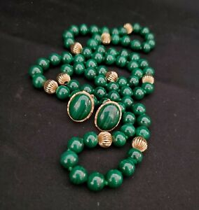 Vintage 14k Yellow Gold Malachite Bead Necklace & Earrings Set