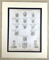 1830 Antico Incisione Araldica Famiglia Crest Albero Conte Di Pembroke Nobility