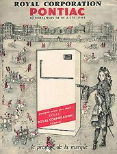 PUBLICITE ADVERTISING  1962   PONTIAC  frigidaire réfrigérateur