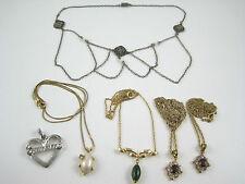 5 Necklace Jade Crystal Garnet Silvertone Pendant Gold Tone Lot Grandma