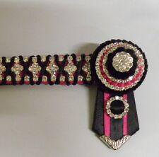 Azalia Pink & Black Satin Diamonte Bling Browband - Mini Pony - 33cm - NEW