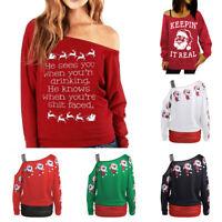 Women Christmas Santa Claus Pattern Casual Shirt One Shoulder Long Sleeve Tops