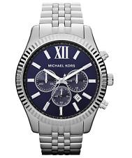 New Michael Kors Lexington Silver Navy Blue Dial Chronograph MK8280 Men's Watch