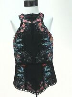 BEBE Dressy Peplum Tank Keyhole Black Lace Floral with Studs Sexy Top Womens S