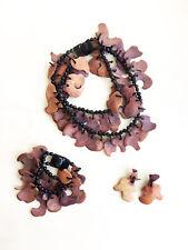 Vintage Danish Monies Gerda Lynggaard Wood Necklace Bracelet Earrings Statement