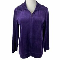 T By Talbots Women's Petite Medium Purple Velour Full Zip Long Sleeve Jacket
