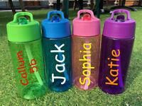 Personalised Custom Kids Water Bottle Flip Straw Love Gym Girls Boys Name Class
