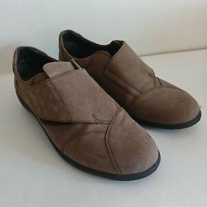 Padders Taupe Leather Flats Orthopedic Shoes Women's Sz 5.5 UK/ 7.5 US/38 EU EUC