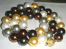 Multicolor Black White Brown 12mm South Sea Shell Pearl 18KGP Clasp Necklace