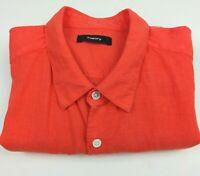 Theory Short Mens M Shirt Neon Orange Short Sleeve Button Up Cotton Blend