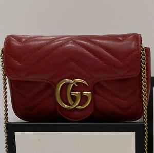 Authentic Gucci GG Marmont matelassé leather super mini bag RRP 700.