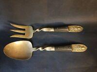 Vintage Brass & Teak Wood Thai Siam Silverware Set Serving Spoon Fork Only