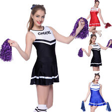 Ladies High School Cheer Girl Cheerleading Costume Fancy Dress Outfit with Poms