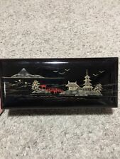 "Vintage 9 1/2"" Black Music Box Wooden Oriental Lacquered Sankyo Movement"