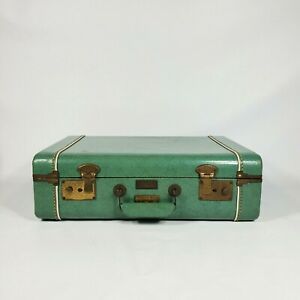 """Vintage Small Green Suitcase 1940s 18"""" Luggage Antique Travel Case"""