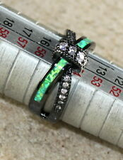 Black SILVER Elegant Green Fire Opal & White Topaz Cross Ring Size 8