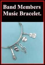 Rolling Stones Charms Expendable Bangle Bracelet. Music Lover Gift