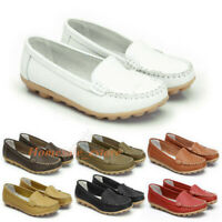 2019 Fashion Women Genuine Leather Casual Bowed Flat Shoes Moccasin Soft