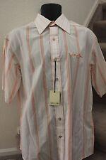 Sean John Mens Shirt Large Button Front Short Sleeve White Orange Beige Size L