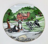 "Vintage Decorative Plate Art Limited Edition 10"" Across Farm Scene Cows Dogs"